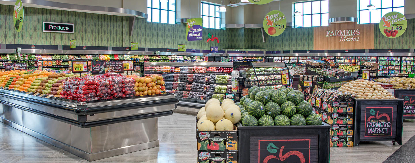 Hussmann product displays at supermarket